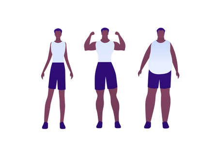 Man body weight concept, Vector flat person illustration set. Collection of african american males in sport outfit. Slim, overweight, strong muscular. Front view. Design for banner, infographic
