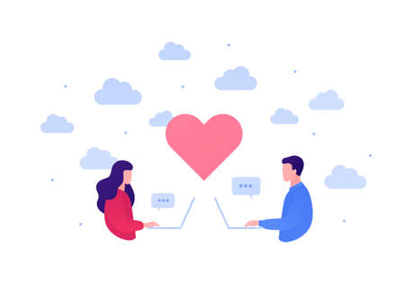 Dating online app and relationship concept. Vector flat person illustration. Man and woman sitting with laptop. Heart shape and talk bubble sign. Love emotion. Design element for banner, web.