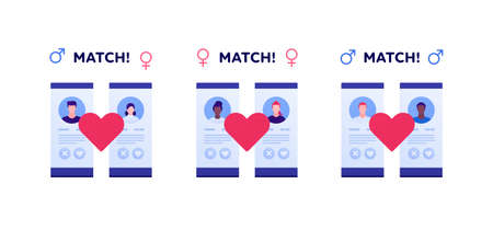 Dating online app, relationship and lgbt concept. Vector flat person illustration set. Collection of phone screen with man and woman profile with match text. Like heart sign. Design for banner, web.