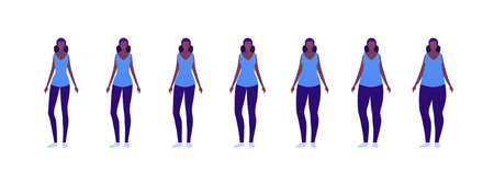 Woman body weight concept, Vector flat person illustration set. Collection of african american females in casual outfit. Slim to muscular. Normal to overweight. Front view. Design for infographic Çizim