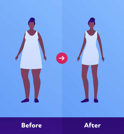 Before and after weight loss concept. Vector flat person illustration. African american woman with overweight body and skinny slim figure. Design character element for banner, web, infographic.