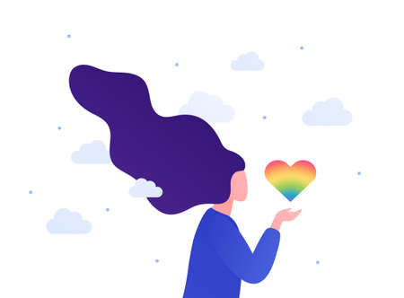 Lgbtq pride month concept. Vector flat person illustration. Çizim