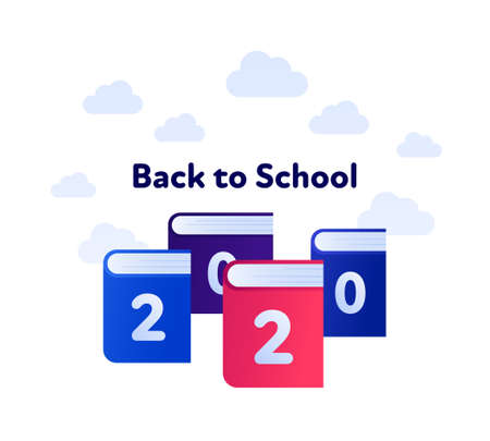 Back to school 2020 and education concept. Vector flat illustration. Group of book symbol with text isolated on white background with clouds. Design for school banner, poster, web, infographic