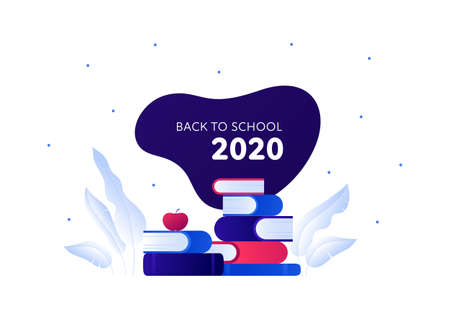 Back to school 2020 and education concept. Vector flat illustration. Stack of book with ecology leaf symbol. Frame with text isolated on white. Design for school banner, web, infographic, invitation.