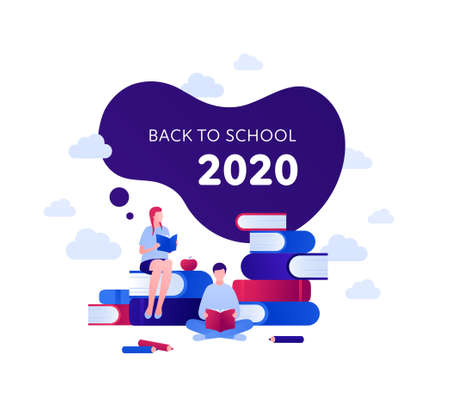 Back to school 2020 and education concept. Vector flat person illustration. Couple of girl and boy reading. Text in frame. Book, apple and pen sign. Design for banner, poster, web, infographic