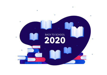 Back to school 2020 and education concept. Vector flat illustration. Stack and open books symbol. Frame with text isolated on white. Design for school banner, web, infographic, invitation.