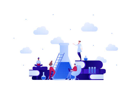 Back to school education and science concept. Vector flat person illustration. Group of student with female teacher in lab coat. Ladder, tube, flask sign. Design for banner, poster, web, infographic.