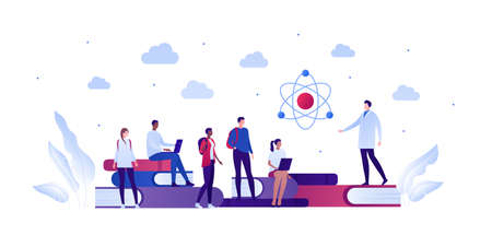 Back to school education and science concept. Vector flat person illustration. Group of multiethnic student with professor in lab coat. Laptop, atom, book. Design for banner, poster, web, infographic.