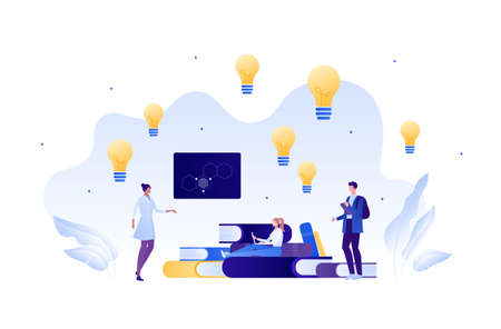 Back to school education and science concept. Vector flat person illustration. Group of student with female professor in lab coat. Lightbulb, laptop, board. Design for banner, web, infographic.