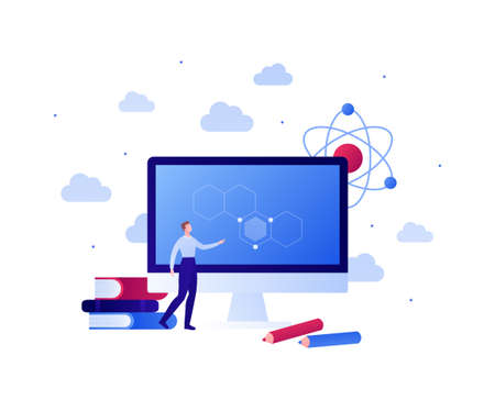 Back to school, online education and science concept. Vector flat person illustration. Male character standing at computer screen. Book, pencil and atom symbol. Design for banner, web, infographic.
