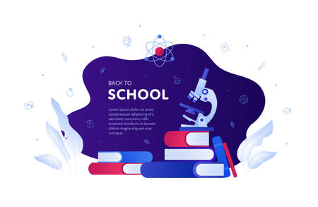 Back to school, education and science concept. Vector flat banner template illustration. Frame with text. Book, microscope, atom physic and chemistry symbol. Design for web, infographic, invitation.