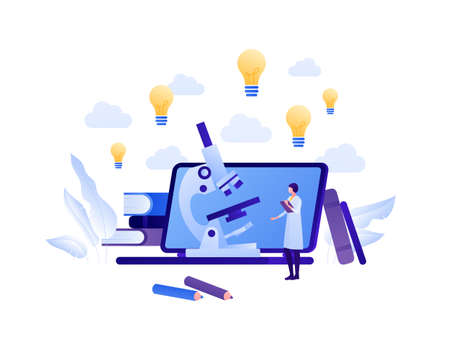 Back to school, online education and science concept. Vector flat person illustration. Female in lab coat. Laptop, microscope, lightbulb idea symbol. Book and pen. Design for banner, web, infographic.