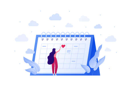 Falling in love, relationship and dating concept. Vector flat people illustration. Woman standing near schedule planning date. Heart shape love symbol. Design element for banner, web, app.
