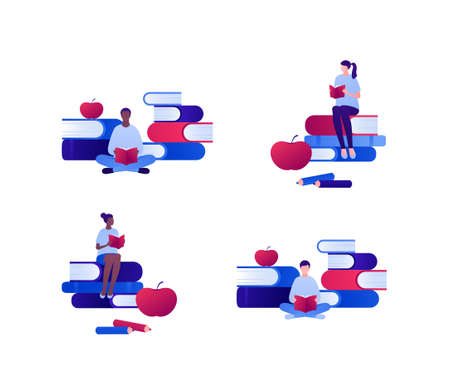 Education and smart read concept. Vector flat person illustration set. Group of multiethnic male and female young adult student reading sitting on stack books. Apple academic knowledge symbol.