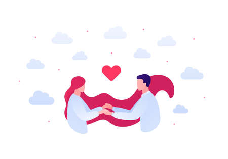 Falling in love and relationship concept. Vector flat people illustration. Couple of male and female holding hands with heart shape symbol on sky background. Design element for banner, web, app.