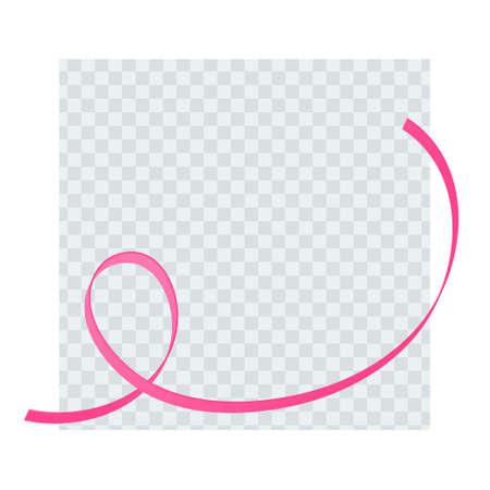 Breast cancer prevention concept. Vector flat illustration. Social media post template. Pink ribbon hope symbol on transparent background. October cancer awareness month. Design element for blog