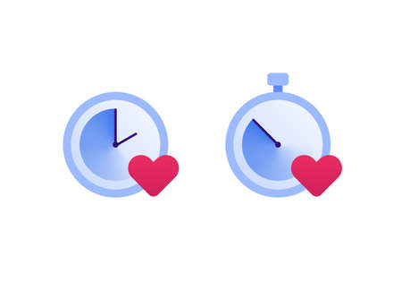 Falling in love, relationship and speed dating concept. Vector flat icon illustration set. Couple of clock sign with heart love symbol. Design element for banner, web, app. Çizim
