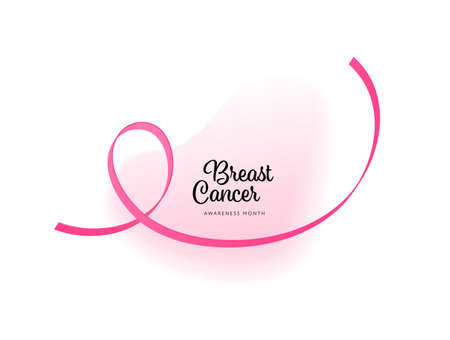 Breast cancer prevention concept. Vector flat illustration. Healthcare banner template. Pink ribbon hope symbol on abstract modern fluid shape with text. October cancer awareness month. Design element Çizim