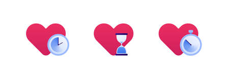 Falling in love, relationship and speed dating concept. Vector flat icon illustration set. Collection of heart love symbol with different clock sign. Timer and hourglass. Design for banner, web, app. Çizim