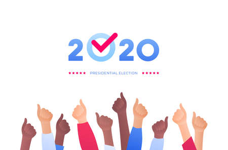 Democratic vote and election day concept. Vetcor flat illustration. Group of multiethnic human hands with 2020 text and checkmark. Design for campaign banner, web, infographic. Çizim
