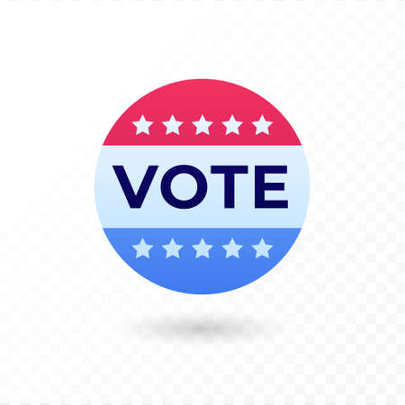 Democratic vote and election day concept. Vetcor flat illustration. Banner template. Text in circle frame in american flag color with star sign. Design element for election campaign, web, infographic.