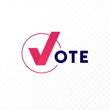 Democratic vote and election day concept. Vetcor flat illustration. Banner template. Text with check mark in checkbox on transparent background. Design element for election campaign, web, infographic.
