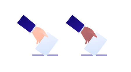 Democratic vote and election day concept. Vetcor flat illustration set. Human hand drop vote paper to box. White and african american black skin color. Design for campaign, web, infographic.
