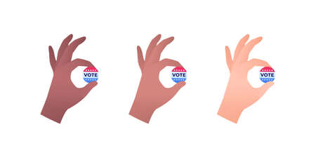 Democratic vote and election day concept. Vetcor flat illustration set. Human hand hold vote cirlce sign. Multiethnic skin color isolated on white. Design for american campaign, web, infographic.