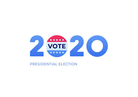 Democratic vote and election day concept. Vetcor flat illustration. Banner template. Text 2020 with flag circle sign isolated on white background. Design for american campaign, web, infographic. Çizim