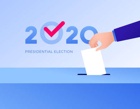 Democratic vote and election day concept. Vetcor flat illustration. Human hand drop vote paper to box with 2020 text and checkmark. Design for campaign banner, web, infographic.
