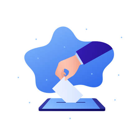 Democratic vote and election day concept. Vetcor flat illustration. Human hand drop vote paper to smartphone box. Online digital voting. Design for campaign, web, infographic. Çizim