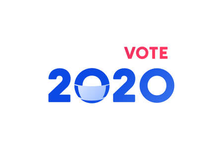 Democratic vote and election day concept. Vetcor flat illustration. Banner template. Text 2020 with face mask sign isolated on white background. Design for american campaign in covid-19, web. Çizim