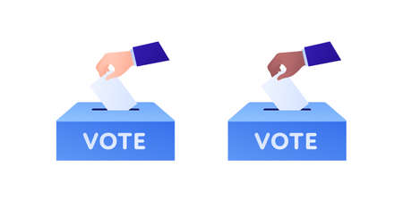 Democratic vote and election day concept. Vetcor flat illustration set. Human hand drop vote paper to box. Caucasian and african american skin color. Design for campaign, web, infographic. Çizim