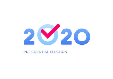 Democratic vote and election day concept. Vetcor flat illustration. Banner template. Text 2020 with red check mark isolated on white background. Design element for election campaign, web, infographic.