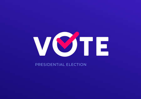 Democratic vote and election day concept. Vetcor flat illustration. Banner template. Text vote with red check mark on blue background. Design element for election campaign, web, infographic.