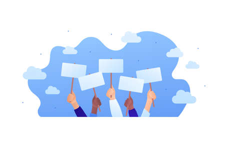 Protest, voting or advertisement campaing concpet. Vector flat people illustration. Group of multiethnic hands holding placard with copy space on blue sky background. Design element for banner, web.