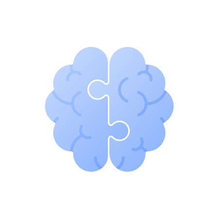 Mind and psychology concept. Vector flat illustration. Human brain of two jigsaw piece isolated on white background. Cognitive research, neurology and education symbol. Design for banner.