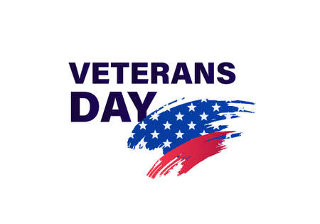 Veteran day holiday banner template. Vector flat illustration. Black text with grunge blue with star and red color on brush stripes on white background.