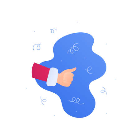 Christmas and new year winter symbol concept. Vector flat illustration. Santa claus hand in thumbs up gesture. Design element banner, poster, web holiday sale ad 向量圖像