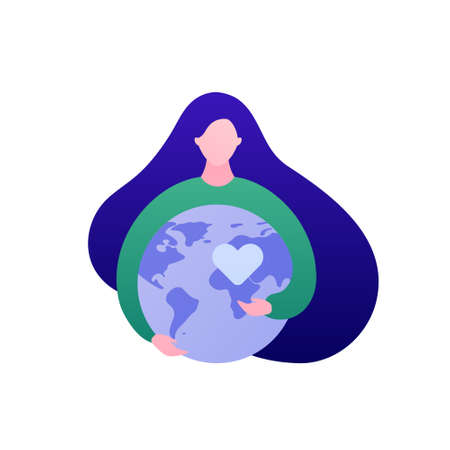 World awareness concept. Vector flat people illustration. Woman embrace planet earth globe. Symbol of global responibility, social care, sustainable enviroment. Design for environmental banner, web.