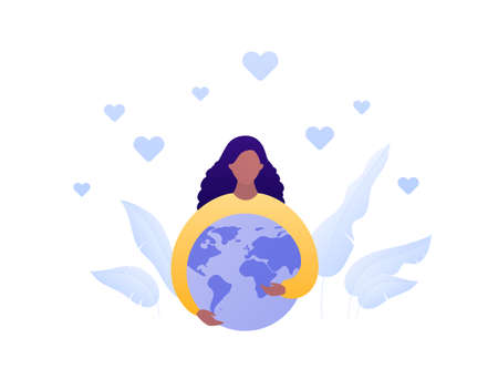 World awareness concept. Vector flat people illustration. African american female embrace planet earth globe. Symbol of global responibility, social care, sustainable ecology. Design for banner, web. 向量圖像