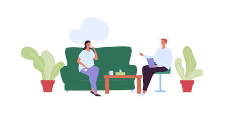 Mental health care concept. Vector flat people character illustration. Woman patient sitting on sofa and man psychologist meeting in psychotherapy office room. Psychological therapy and psychiatry.
