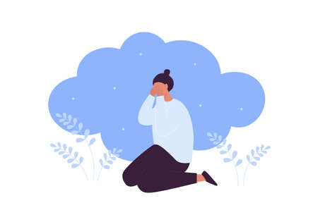 Sad and depression emotion concept. Vector flat people illustration. Woman sitting lonely in frustrated depressed pose. Symbol of negative feeling, grief, ptsr, anxiety, mental disorder.