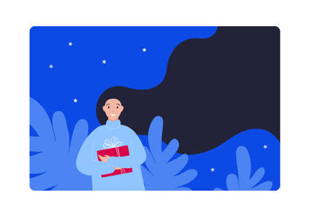 Christmas holiday gift and new year celebration concept. Vector flat people illustration. Card or banner template. Woman hold red giftbox in night sky nature background. Design for sale, ad. 版權商用圖片 - 159615254