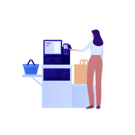 Self checkout grocery kiosk and contactless payment concept. Vector flat character illustration. Woman customer person pay by smart phone in self-service supermarket. Design for ad, web banner.