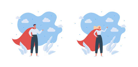 Superhero people character concept. Vector flat male and female people illustration set. Man and woman super hero in red cape standing in strong victory pose on sky background. Vektoros illusztráció