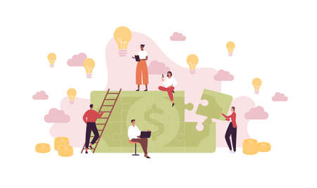Business idea and success concept. Vector flat people illustration. Jigsaw puzzle with dollar currency sign. Team of man and woman employee holding smartphone and laptop Teamwork metaphor