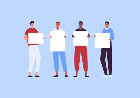 Activist student and protest concept. Vector flat creative character illustration set. Collection of standing male young adult hold empty placard in hand in casual cloth. Multiethnic man group bundle.