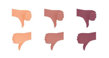Hand gesture icon collection. Vector flat multiracial llustration set. Caucasian, african american thumbs down finger dislike sign. Negative review unlike symbol. Design element for web, business, ad.