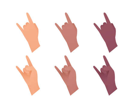 Hand gesture icon collection. Vector flat multiracial llustration set. Rock and roll arm sign. Caucasian, african american and indian ethnic. Evil heavy music concert symbol. Design element for web.